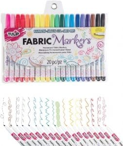 Tulip Permanent Nontoxic Fabric Markers, 20 Pack, Multicolor